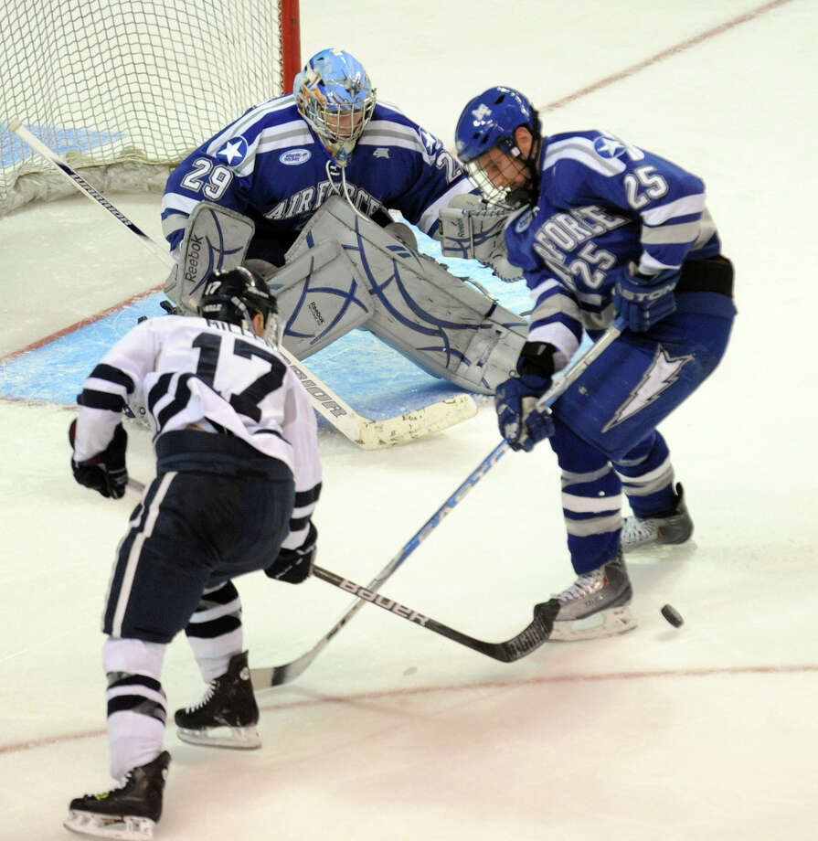 Highlights from NCAA hockey tournament action between Yale and Air Force at the Webster Bank Arena at Harbor Yard in Bridgeport on Friday March 26, 2011. Photo: Christian Abraham, ST / Connecticut Post
