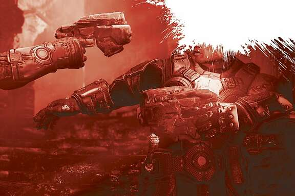 Photo illustration for violence in video games story.  Scene is from Gears of War: Judgment.