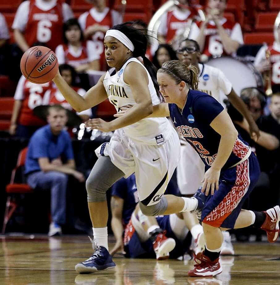 Brittany Boyd, who finished one assist shy of a triple-double, heads up court after stealing the ball from Fresno State's Taylor Thompson in the second half of Cal's first-round victory. Photo: LM Otero, Associated Press