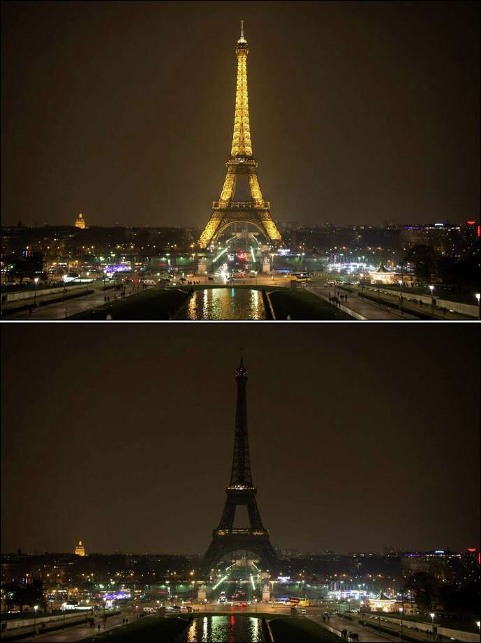 Combo picture shows the Eiffel tower is seen before and after submerging into darkness at 8:30 pm (local time) as part of the Earth Hour switch-off on March 23, 2013 in Paris. Organisers expect hundreds of millions of people across more than 150 countries to turn off their lights for 60 minutes on Saturday night -- at 8:30 pm local time -- in a symbolic show of support for the planet. While more than 150 countries joined in last year's event, the movement has spread even further afield this year, with Palestine, Tunisia, Suriname and Rwanda among a host of newcomers pledging to take part. Photo: BERTRAND LANGLOIS, AFP/Getty Images / AFP