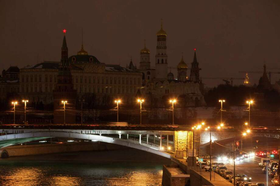 The lights are turned off at the Kremlin during the worldwide Earth Hour in Moscow, Russia, Saturday, March 23, 2013. The Kremlin is participating in the Earth Hour for the first time. During Earth Hour people around the world turn off the electric lights for an hour from 8.30pm to focus on climate problems. Photo: Alexander Zemlianichenko Jr, Associated Press / AP