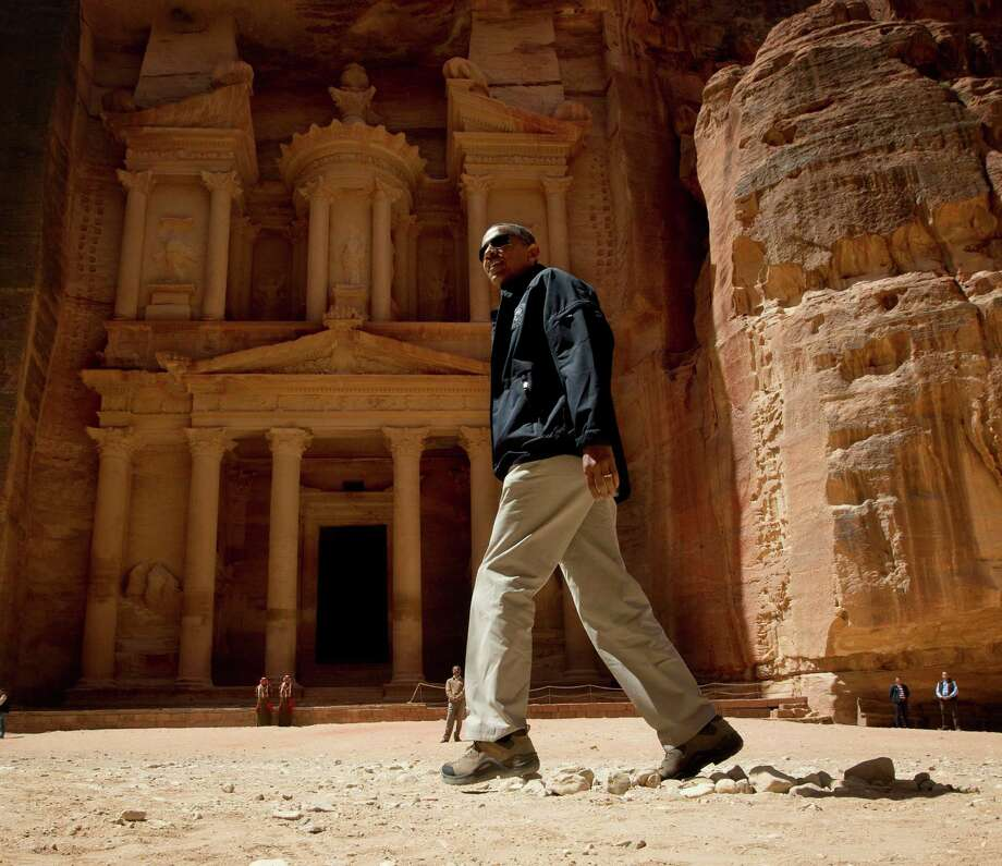 U.S. President Barack Obama tours the Treasury in the ancient city of Petra, Jordan, Saturday, March 23, 2013.  (AP Photo/Pablo Martinez Monsivais) Photo: Pablo Martinez Monsivais