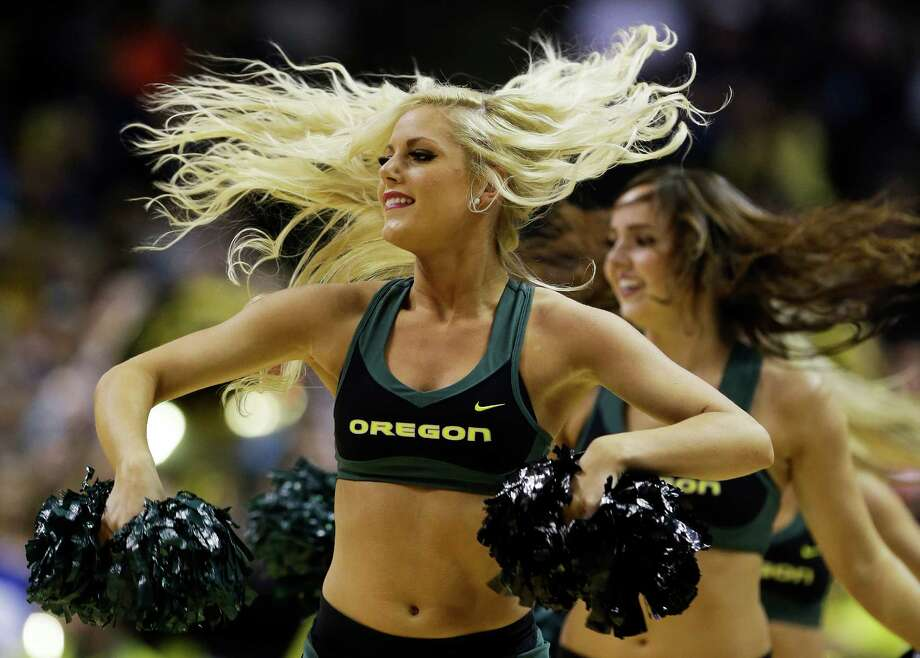 Oregon Ducks cheerleaders perform in the first half against the Saint Louis Billikens during the third round of the 2013 NCAA Men's Basketball Tournament at HP Pavilion on March 23, 2013 in San Jose, California. Photo: Ezra Shaw, Getty Images / 2013 Getty Images