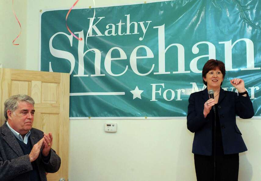 Albany mayoral candidate Kathy Sheehan, right, speaks after being endorsed by retired New York State