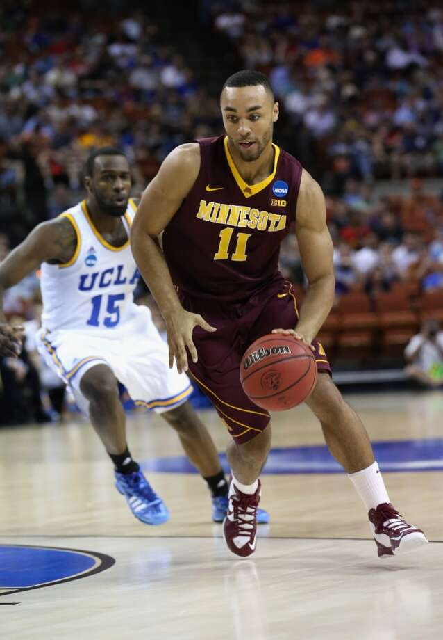 AUSTIN, TX - MARCH 22:  Joe Coleman #11 of the Minnesota Golden Gophers plays against the UCLA Bruins during the second round of the 2013 NCAA Men's Basketball Tournament at The Frank Erwin Center on March 22, 2013 in Austin, Texas.  (Photo by Stephen Dunn/Getty Images)