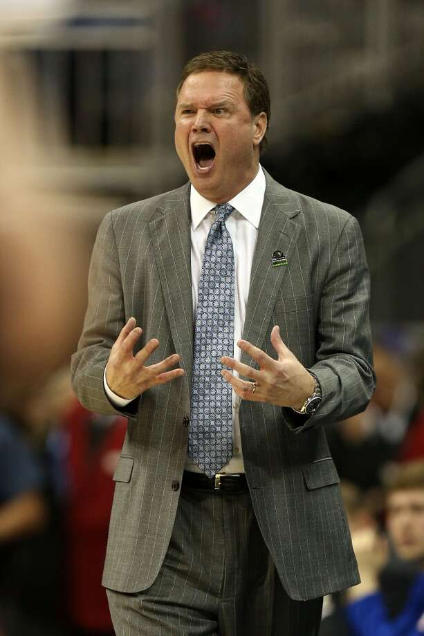 KANSAS CITY, MO - MARCH 22:  Head coach Bill Self of the Kansas Jayhawks reacts in the second half against the Western Kentucky Hilltoppers during the second round of the 2013 NCAA Men's Basketball Tournament at the Sprint Center on March 22, 2013 in Kansas City, Missouri.  (Photo by Ed Zurga/Getty Images)