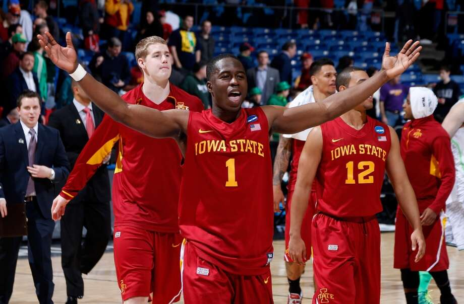 DAYTON, OH - MARCH 22: Bubu Palo #1 of the Iowa State Cyclones celebrates with teammates after defeating the Notre Dame Fighting Irish during the second round of the 2013 NCAA Men's Basketball Tournament at UD Arena on March 22, 2013 in Dayton, Ohio.  (Photo by Joe Robbins/Getty Images)