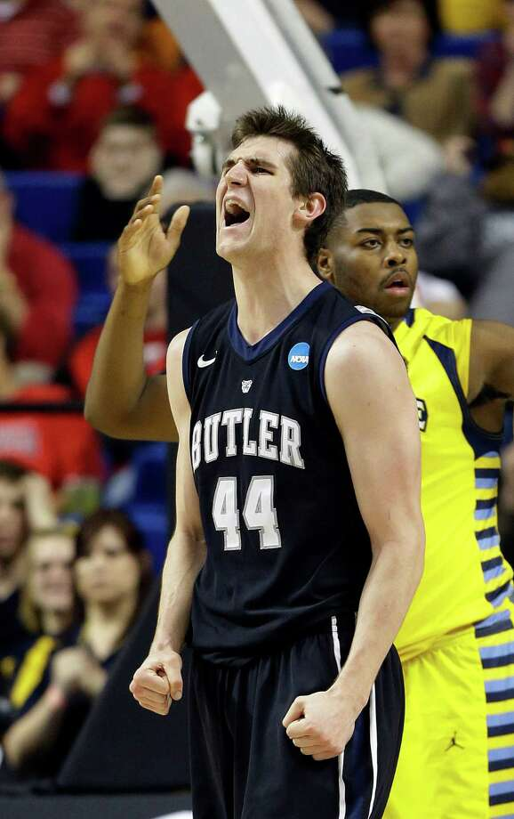 Butler center Andrew Smith (44) reacts after being fouled in the first half of a third-round NCAA college basketball tournament game against the Marquette, Saturday, March 23, 2013, in Lexington, Ky. (AP Photo/John Bazemore) Photo: John Bazemore, Associated Press / AP