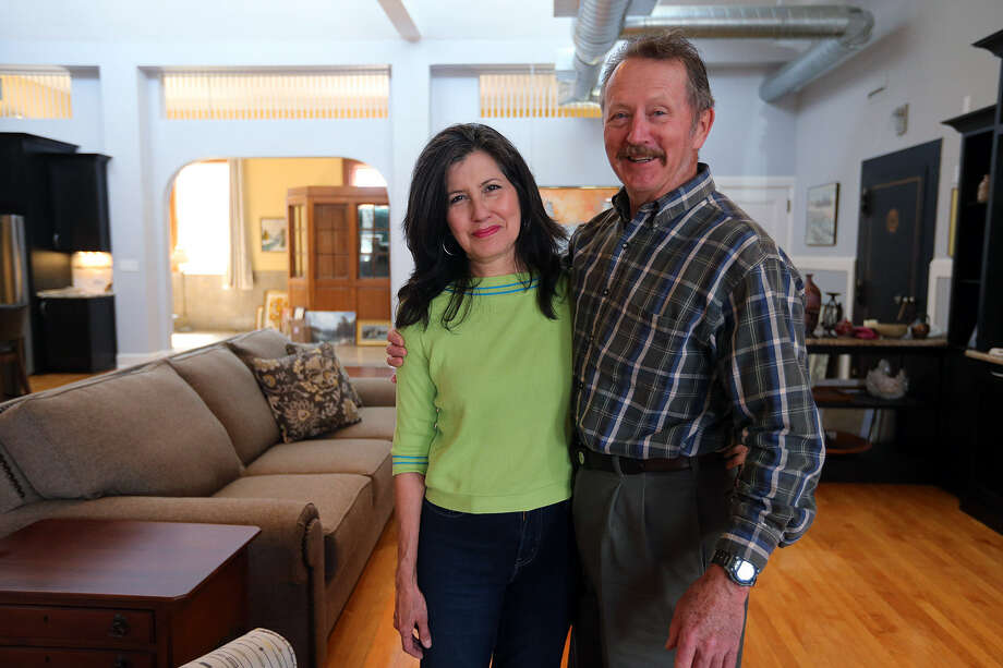 Former Kenedy residents Joe and Maricela Corcoran now are renovating the old Lampasas post office into their home. Photo: Jerry Lara / San Antonio Express-News