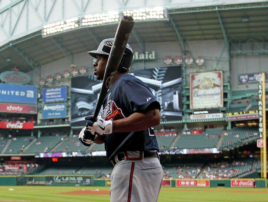 Michael Bourn went to Nimitz for high school and spent his college playing days at UH. He has played for the Astros, Philadelphia Phillies, Atlanta Braves and now the Cleveland Indians. Photo: James Nielsen, Chronicle / © 2012 Houston Chronicle