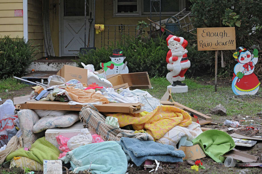 Damaged buildings and ruined belongings line Main St. in Prattsville, N.Y. on Sept. 8, 2011. The Schoharie Creek flooded the town after tropical storm Irene. (Lori Van Buren / Times Union) Photo: Lori Van Buren