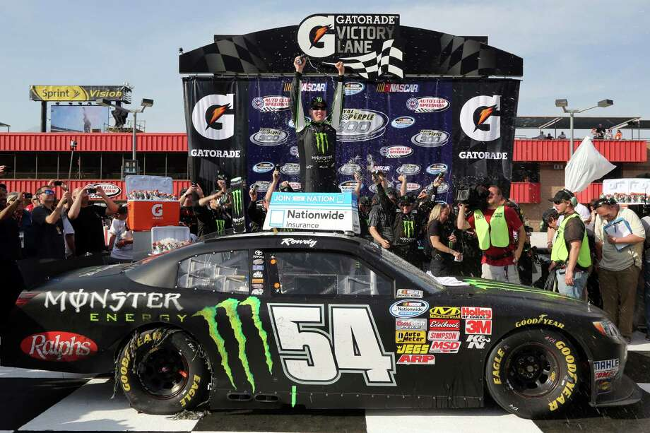 Kyle Busch celebrates in victory lane after winning Saturday's Nationwide Series race in Fontana, Calif. It was his third win in five races this season. Photo: Jerry Markland / Getty Images