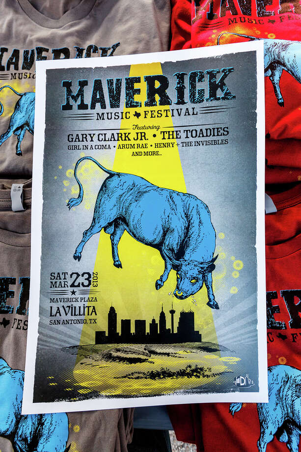 A Maverick Music Festival poster on a stack of t-shirts during the first annual Maverick Music Festival at  La Villita's Maverick Plaza on Saturday, March 23, 2013.  Austin's Gary Clark, Jr. and The Toadies from Fort Worth headlined the event that included Girl in a Coma, Arum Rae and  Henry + the Invisibles among others.  MARVIN PFEIFFER/ mpfeiffer@express-news.net Photo: MARVIN PFEIFFER, Express-News / Express-News 2013