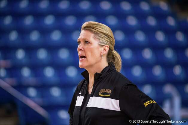 UAlbany women's coach Katie Abrahamson-Henderson at practice for her team's NCAA Tournament game against North Carolina in Newark, Del. (Gregory Fisher / SportsThroughTheLens.com) Photo: Gregory J. Fisher