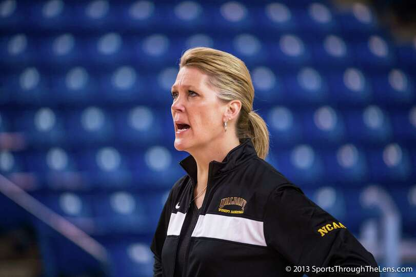 UAlbany women's coach Katie Abrahamson-Henderson at practice for her team's NCAA Tournament game aga