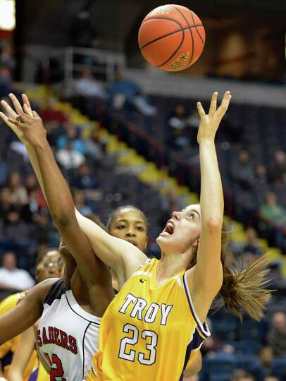 Troy's #23 Krystyn Knockwood during the Class A girls' Federation final against Long Island Lutheran