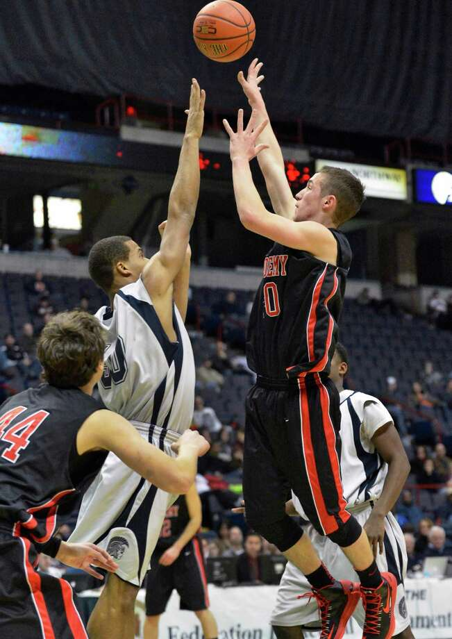 Albany Academy's #10 John Moutopoulos, at right, finds the basket during the Class A boys' Federation final game against John Adams at the Times Union Center Saturday March 23, 2013. (John Carl D'Annibale / Times Union) Photo: John Carl D'Annibale / 00021671A