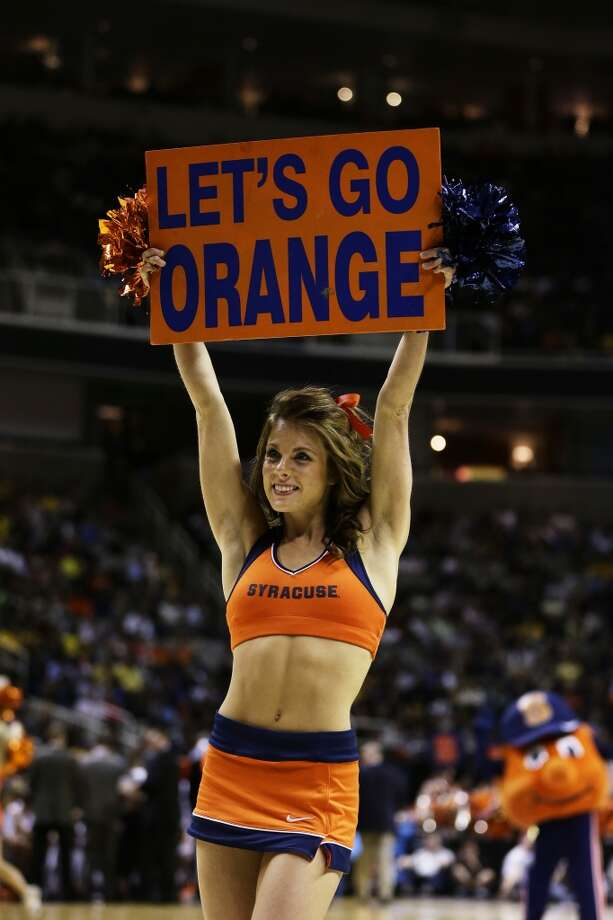 SAN JOSE, CA - MARCH 23:  A Syracuse Orange cheerleader performs in the second half against the California Golden Bears during the third round of the 2013 NCAA Men's Basketball Tournament at HP Pavilion on March 23, 2013 in San Jose, California.  (Photo by Ezra Shaw/Getty Images)