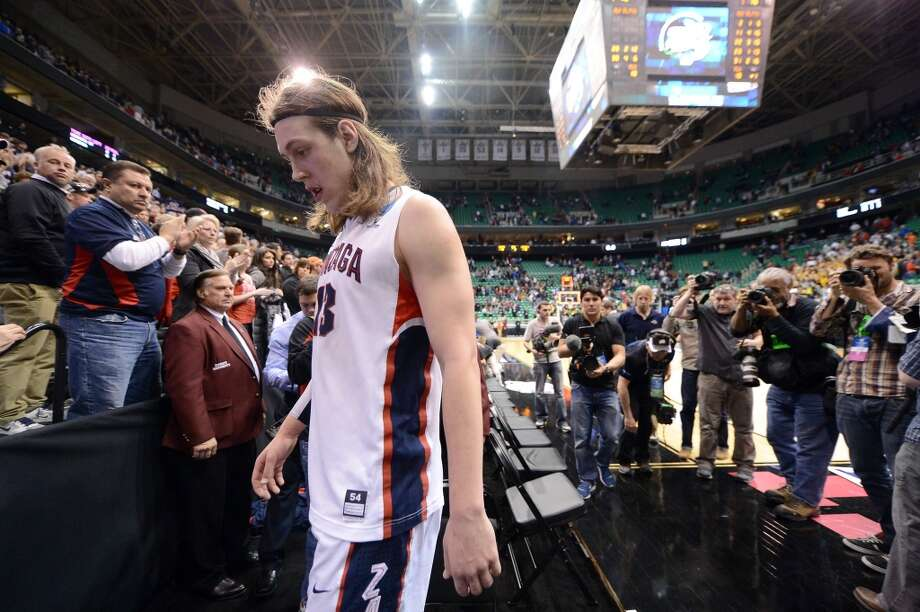SALT LAKE CITY, UT - MARCH 23:  Kelly Olynyk #13 of the Gonzaga Bulldogs leaves the court after a 76-70 loss to the Wichita State Shockers during the third round of the 2013 NCAA Basketball Tournament at EnergySolutions Arena on March 23, 2013 in Salt Lake City, Utah.  (Photo by Harry How/Getty Images)