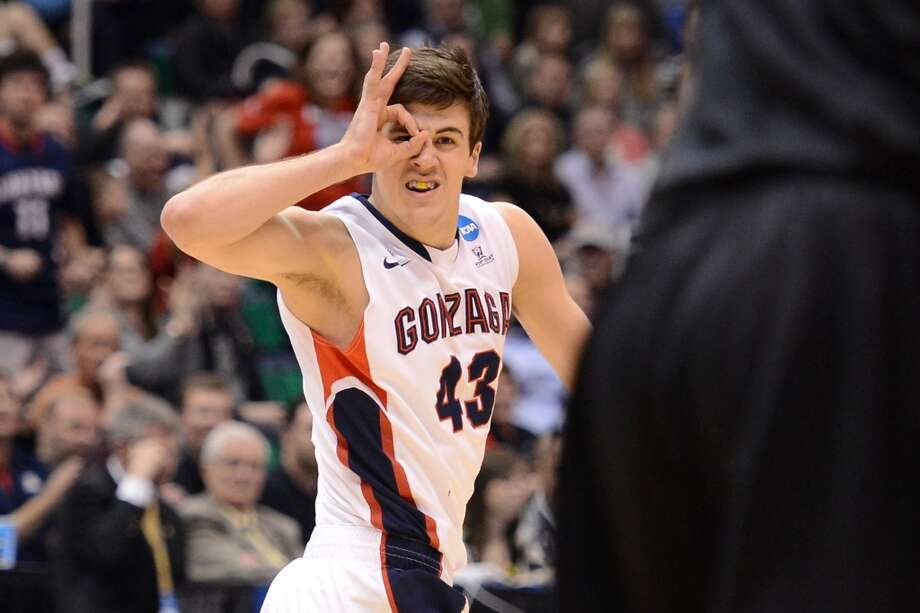 SALT LAKE CITY, UT - MARCH 23:  Drew Barham #43 of the Gonzaga Bulldogs reacts after making a three-pointer in the second half while taking on the Wichita State Shockers during the third round of the 2013 NCAA Men's Basketball Tournament at EnergySolutions Arena on March 23, 2013 in Salt Lake City, Utah.  (Photo by Harry How/Getty Images)