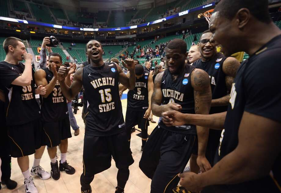SALT LAKE CITY, UT - MARCH 23:  Nick Wiggins #15 of the Wichita State Shockers celebrates after defeating the Gonzaga Bulldogs 76-70 during the third round of the 2013 Men's NCAA Basketball Tournament at EnergySolutions Arena on March 23, 2013 in Salt Lake City, Utah.  (Photo by Streeter Lecka/Getty Images)