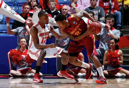 Ohio State 78, Iowa State 75Will Clyburn #21 of the Iowa State Cyclones handles the ball against Sam Thompson #12 of the Ohio State Buckeyes in the first half. Photo: Joe Robbins, Getty Images / 2013 Getty Images
