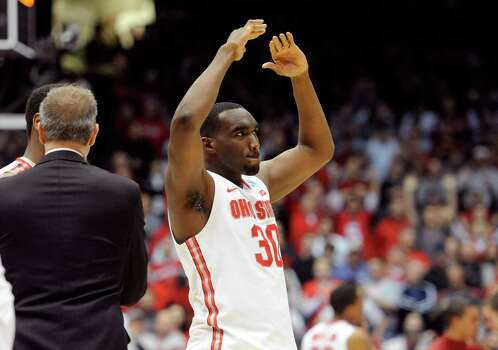 Evan Ravenel #30 of the Ohio State Buckeyes celebrates after defeating the Iowa State Cyclones during the third round. Photo: Jason Miller, Getty Images / 2013 Getty Images