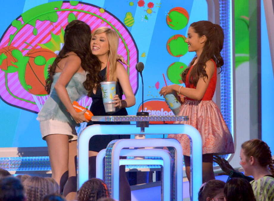 LOS ANGELES, CA - MARCH 23:  (L-R) Actress/singer Selena Gomez, actress Ashley Tisdale and actress Ariana Grande perform during Nickelodeon's 26th Annual Kids' Choice Awards at USC Galen Center on March 23, 2013 in Los Angeles, California.  (Photo by Lester Cohen/WireImage) Photo: Lester Cohen, WireImage / Getty Images