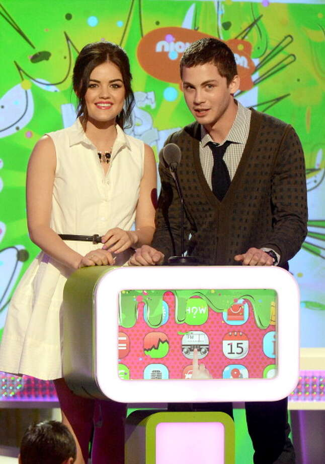 LOS ANGELES, CA - MARCH 23:  Actors Lucy Hale (L) and Logan Lerman speak onstage at Nickelodeon's 26th Annual Kids' Choice Awards at USC Galen Center on March 23, 2013 in Los Angeles, California.  (Photo by Jeff Kravitz/FilmMagic) Photo: Jeff Kravitz, FilmMagic / Getty Images