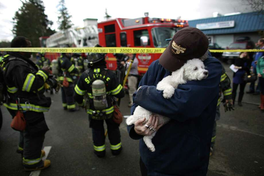 David Bailey holds onto his friend's dog Lilly after he was handed the rescued pup by a firefighter as crews battle a four-story apartment fire on Friday, March 22, 2013 in Seattle's Pinehurst neighborhood. The fire damaged six units of the building and was apparently started by a burning motorcycle in the parking garage. (AP Photo/seattlepi.com, Joshua Trujillo)  Photo: AP