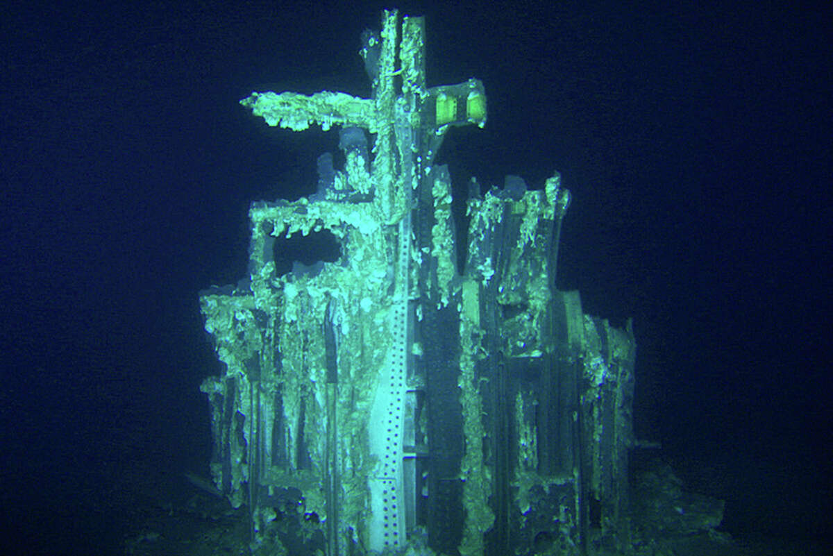 This image provided by Bezos Expeditions shows growths on a Saturn V rocket stage structure on the bottom of the Atlantic Ocean in March 2013. An expedition led by Amazon CEO Jeff Bezos pulled up two rocket engines that helped boost Apollo astronauts to the moon. Bezos and NASA announced the recovery on Wednesday, March 19, 2013. The sunken engines were part of the Saturn V rocket used to bring astronauts to the moon during the 1960s and 1970s. After liftoff, they fell into the ocean as planned.