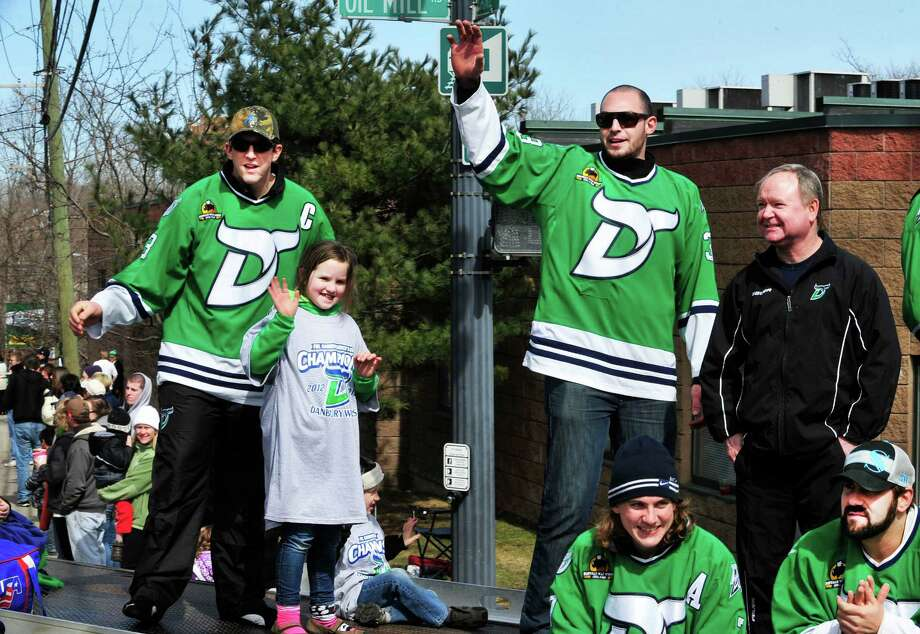 The Whalers ride high in Danbury's St. Patrick's Day Parade and Danbury Whalers Commissioner's Cup victory celebration Sunday, March 24, 2013 in Conn. Photo: Michael Duffy / The News-Times