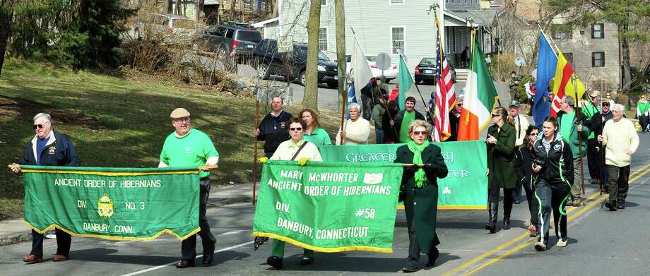 The Ancient Order of Hibernians march in Danbury's St. Patrick's Day Parade and Danbury Whalers Commissioner's Cup victory celebration Sunday, March 24, 2013 in Conn. Photo: Michael Duffy / The News-Times