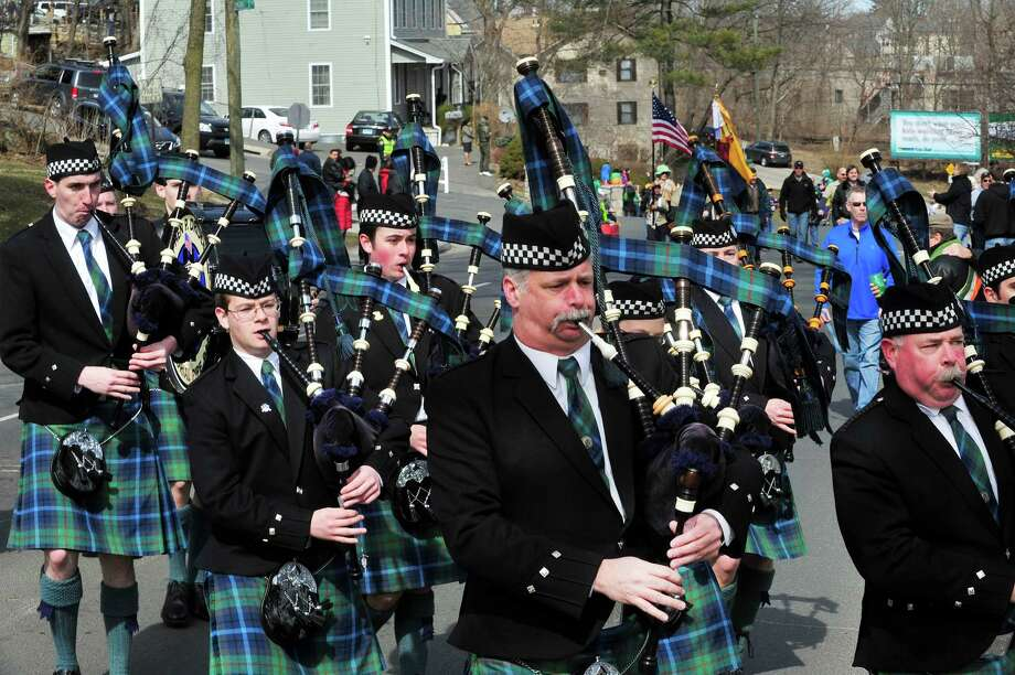 The Stephen P. Driscoll Memorial Pipe Band marches in Danbury's St. Patrick's Day Parade and Danbury Whalers Commissioner's Cup victory celebration Sunday, March 24, 2013 in Conn. Photo: Michael Duffy / The News-Times
