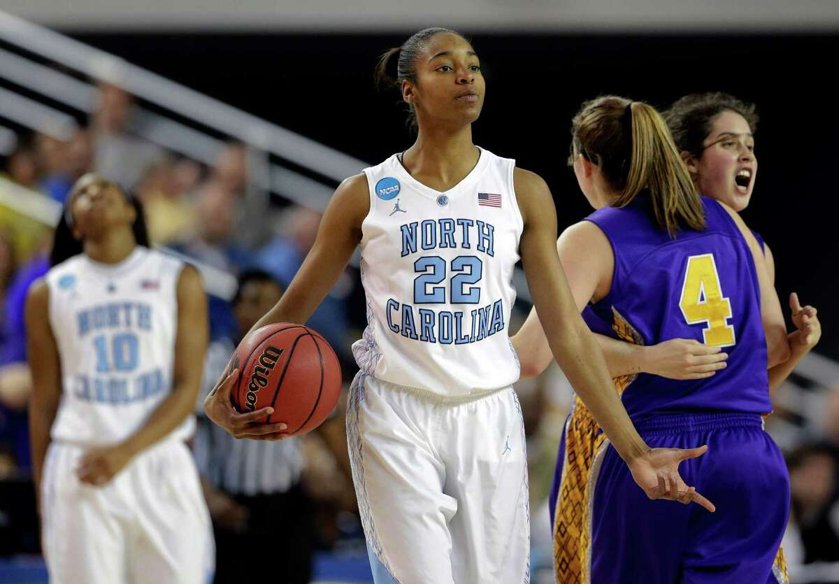 North Carolina guard N'Dea Bryant (22) reacts after committing a backcourt violation during the first half of a first-round game against Albany in the women's NCAA college basketball tournament in Newark, Del., Sunday, March 24, 2013. (AP Photo/Patrick Semansky)