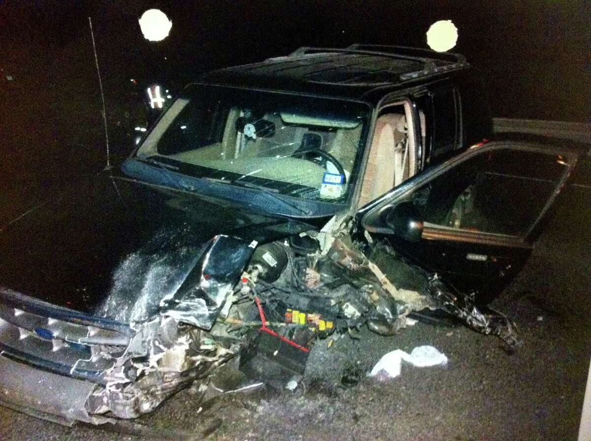 This crime scene photo entered into evidence in Frances Rosalez Ford's felony murder case shows her Ford Explorer after she caused a fatal head-on wreck while driving the wrong way on U.S. 281 in October 2010.