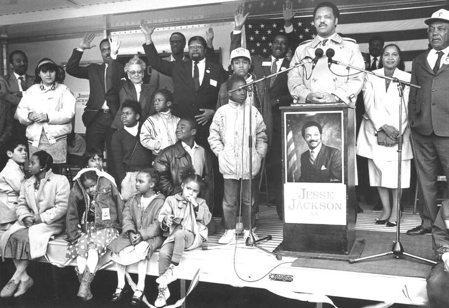 The day after winning Michigan's presidential primary, and just before Connecticut's primary, Democratic candidate Jesse Jackson spoke to a crowd of about 1,000 at the Yerwood Center on March 27, 1988. Photo: Advocate