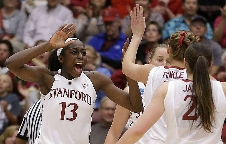 Stanford's Chiney Ogwumike (13) celebrates a score against Tulsa during the first half of a first-round game in the women's NCAA college basketball tournament on Sunday, March 24, 2013, in Stanford, Calif. (AP Photo/Ben Margot) Photo: Ben Margot, Associated Press