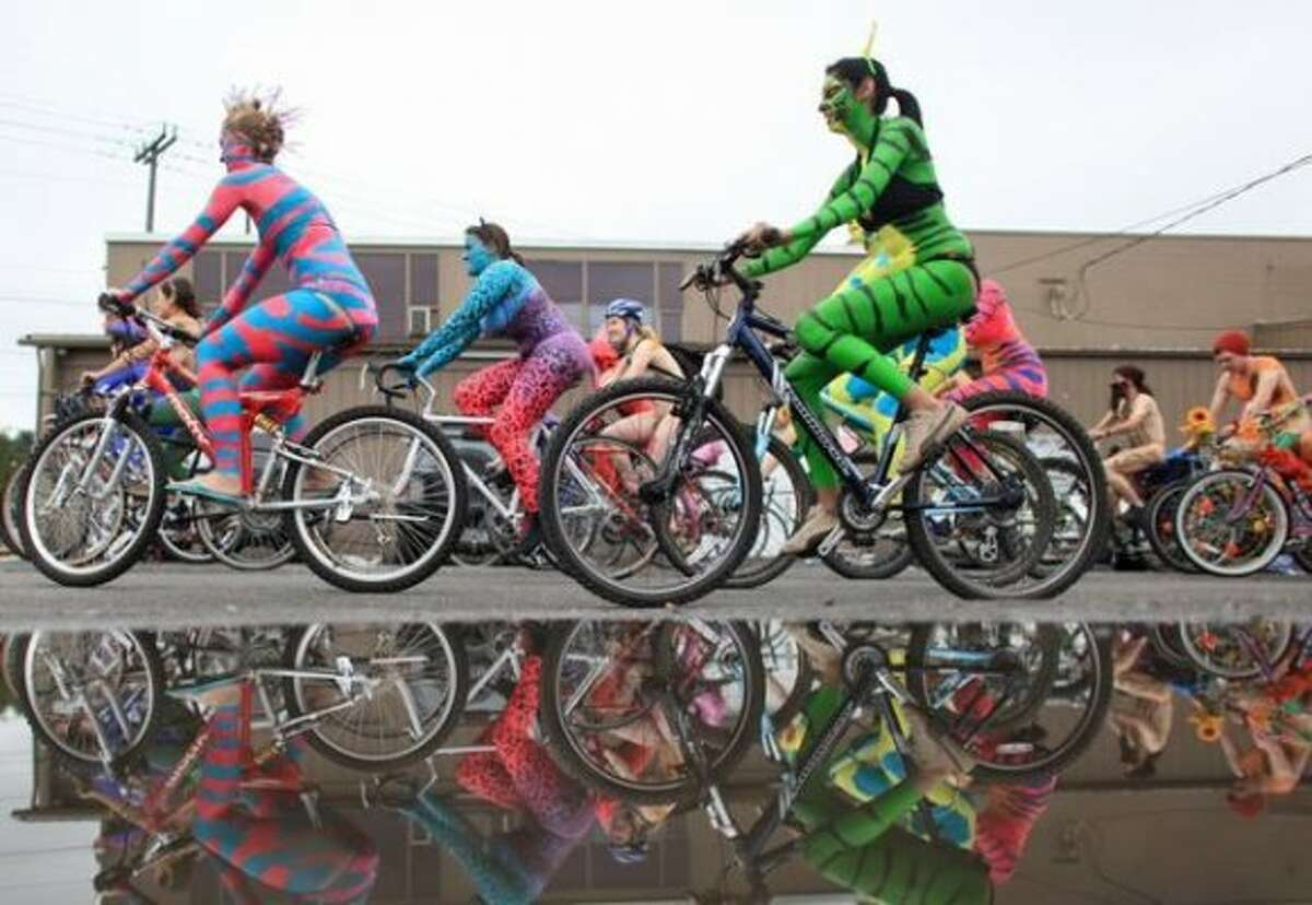 Other cities have bicyclists, too, but maybe not as many as in Seattle, and certainly not with the same attitude and love of body paint. Here's a look.