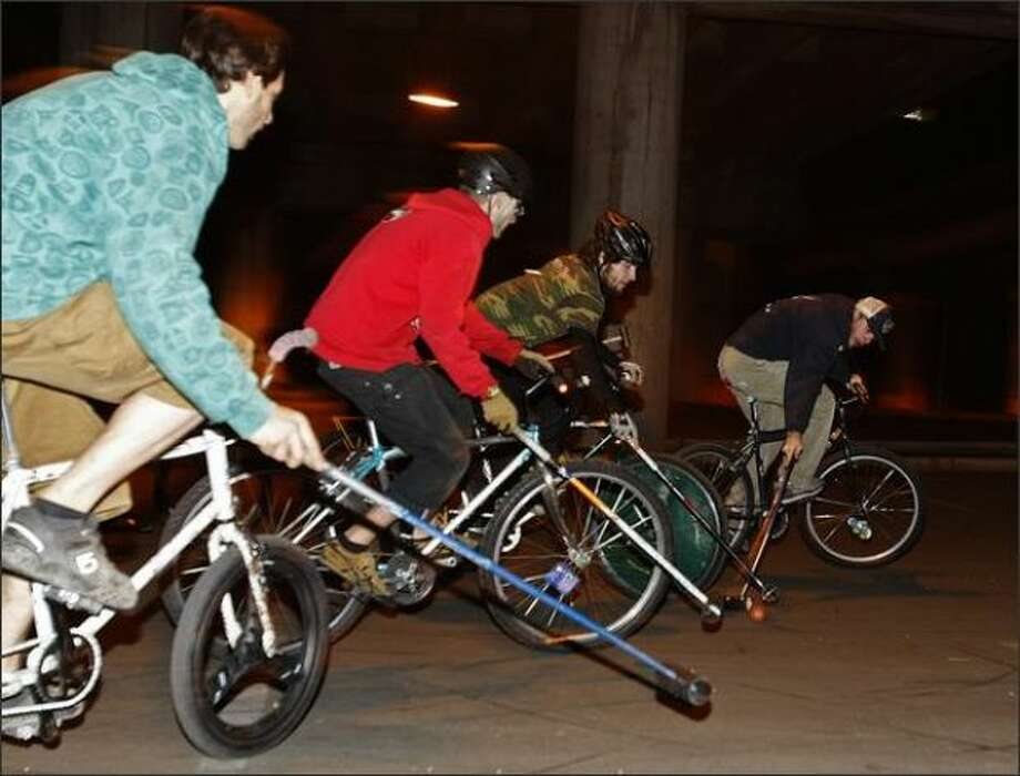 Play bike polo, or some similarly made-up, two-wheeled game favored by white people.