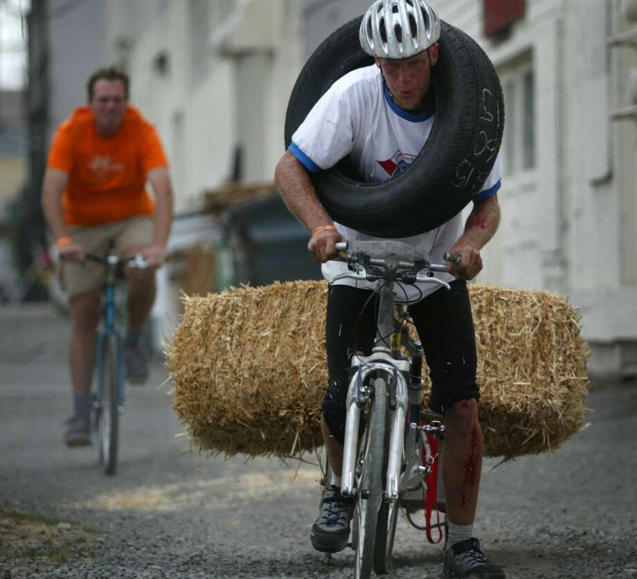 ...a car tire and hay, in something called the ''Bike Messenger World Championship,'' or ...