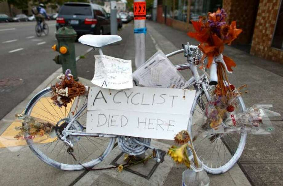 Have a deep connection to ghost bikes. (This memorial on Dexter Avenue North was for bicyclist Mike Wang, killed by a hit-and-run driver in 2011).
