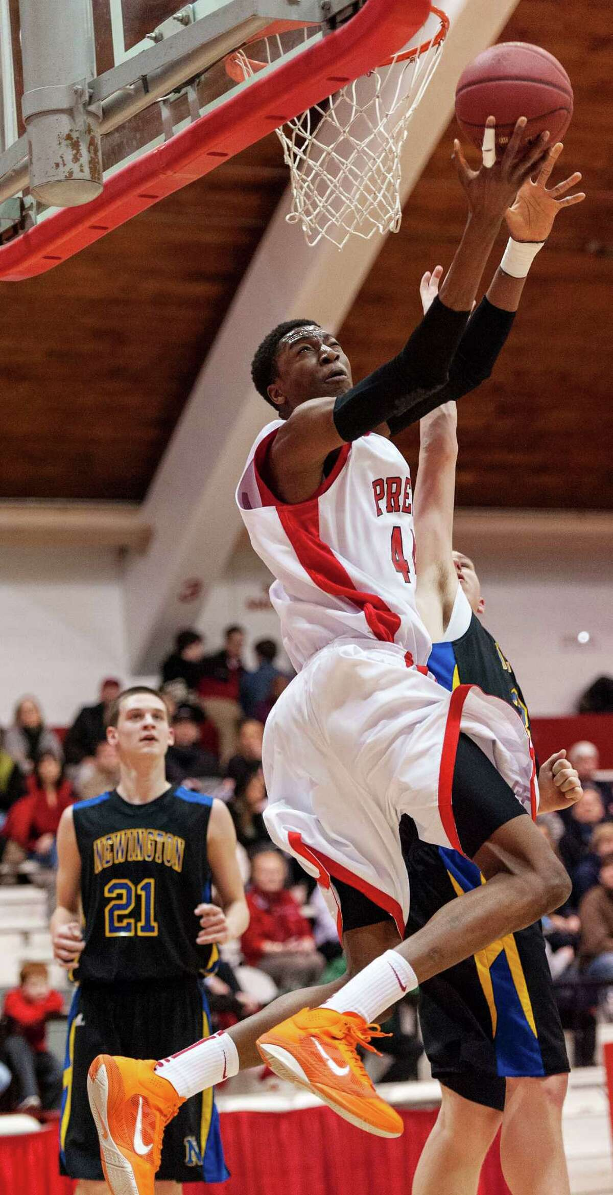 Paschal Chukwu, Fairfield Prep, goes up for a layup during a second round 2013 CIAC class LL boys basketball tournament game against Newington high school held at Alumni Hall, Fairfield University, Fairfield CT on Wednesday March 6th 2013.