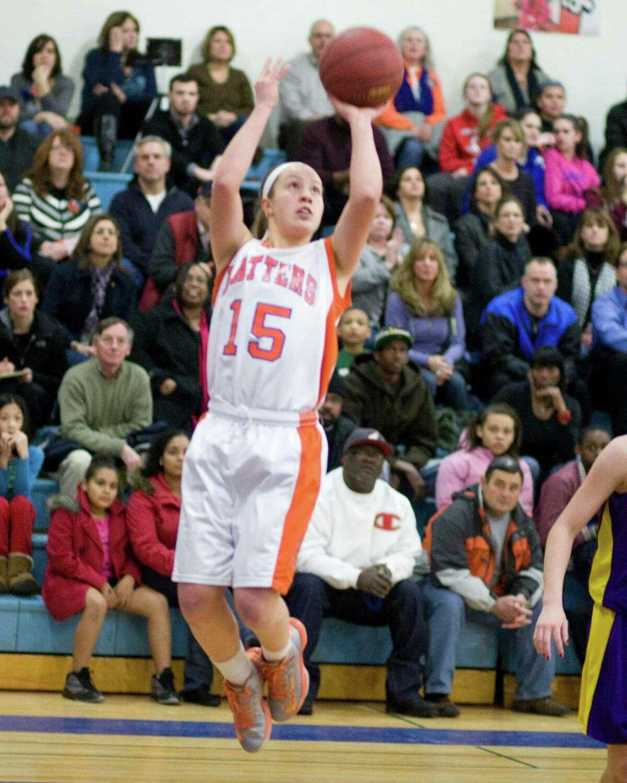 Danbury's Rebecca Gartner sinks a jump shot against Westhill Tuesday night at Danbury High School.