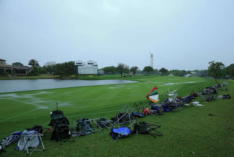 Overturned spectators chairs were evidence of the extreme thunderstorm that postponed the final round at Bay Hill. Photo: Sam Greenwood / Getty Images