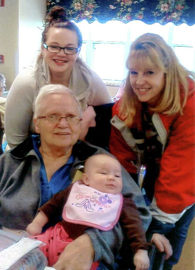 Four generations of a Capital Region family gathered last month at Schuyler Ridge Day Care, an adult home in Clifton Park. Clockwise from top left, Shea Leigh-Anderson of Mechanicville, her mother Kimberly Anderson of Waterford, her grandaughter Arie-Anna White, age 4 months and her great-grandmother, Judith Bacon, 70, of Ballston Lake.    (Photo by Mary Webb of Troy)