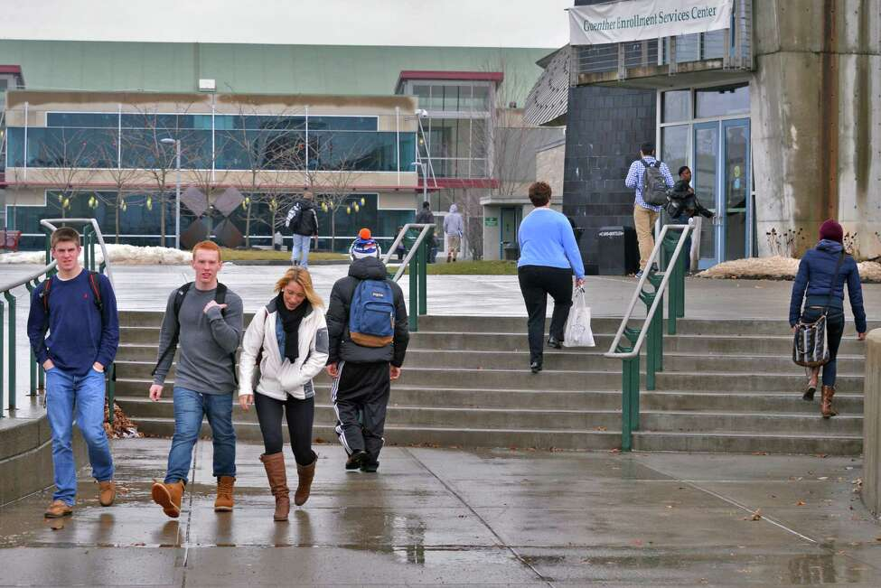 Students on the HVCC campus in Troy Wednesday Jan. 30, 2013. (John Carl D'Annibale / Times Union)