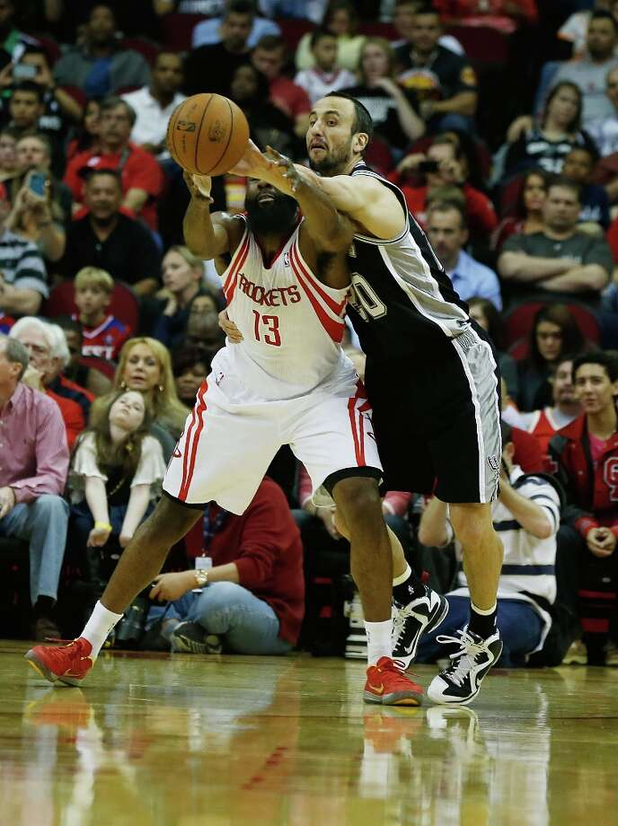 James Harden (13) of the Houston Rockets battles for the ball with Manu Ginobili (20) of the Spurs at Toyota Center on March 24, 2013 in Houston. Photo: Scott Halleran, Getty Images / 2013 Getty Images