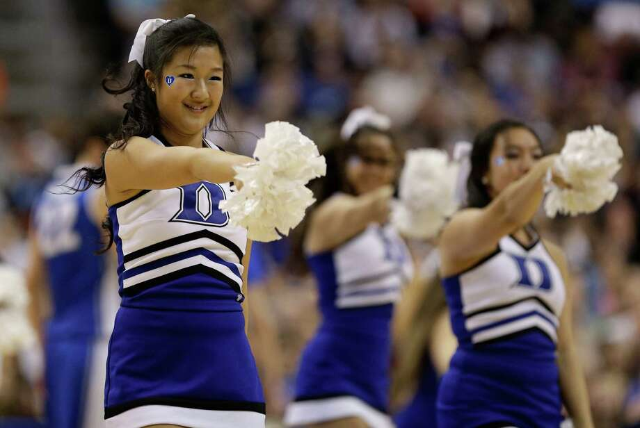 PHILADELPHIA, PA - MARCH 24:  The Duke Blue Devils cheerleaders perform during a break in the game against the Creighton Bluejays during the third round of the 2013 NCAA Men's Basketball Tournament at Wells Fargo Center on March 24, 2013 in Philadelphia, Pennsylvania. Photo: Rob Carr, Getty Images / 2013 Getty Images