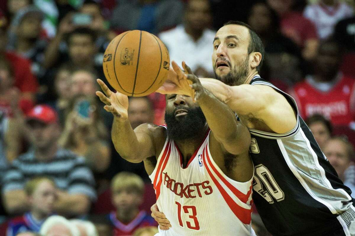 Spurs guard Manu Ginobili, knocking s a pass away from Houston's James Harden, chatted with fans via the Internet over the weekend.